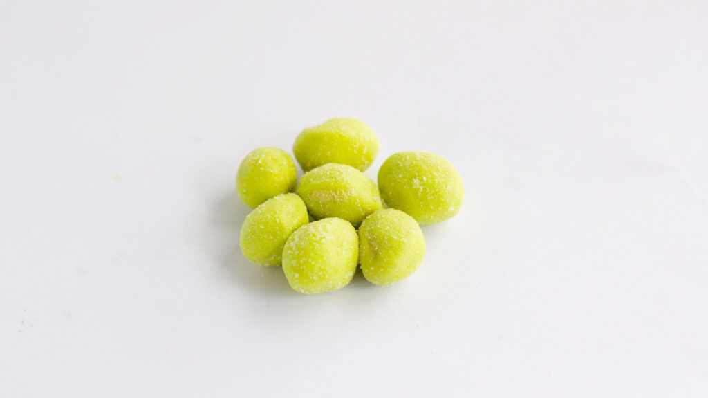 Japanese Wasabi flavored pistachio snacks